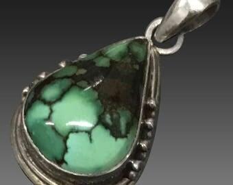 Vintage Sterling Silver Natural Turquoise Tear Drop Shape PendantVintage Sterling Silver Natural Turquoise Tear Drop Shape Pendant