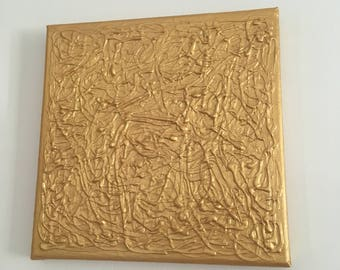 Gold Abstract Textured Acrylic Canvas