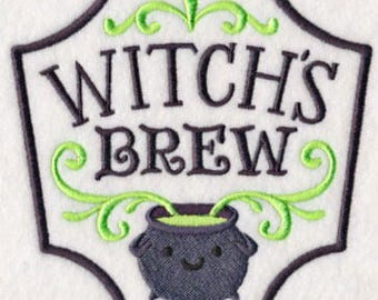 Halloween Apothecary - Witch's Brew, Embroidered Halloween Tea Towel, Dish Towel, Halloween Decoration, Kitchen Decoration, Kitchen Towel