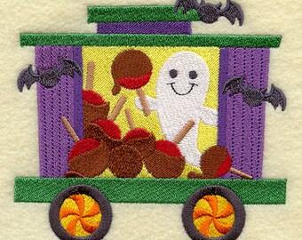 Trick-or-Treat Train - Ghosts & Caramel Apples, Embroidered Halloween Dish Towel, Cute Halloween Decoration, Halloween Kitchen Towel