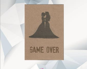 Funny Lesbian Wedding Card Funny - GAME OVER - Funny Lesbian Engagement Card Funny - LGBT Wedding Card - Funny Engagement Card Lesbian