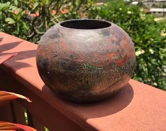 Ceramic -handthrown raku pot