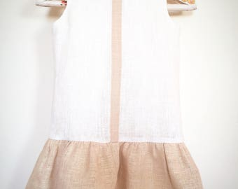 Girls linen dress, Eco friendly girls dress, girls Christening linen dress, Girls baptism outfit, girls soft linen dress, linen ruffle dress