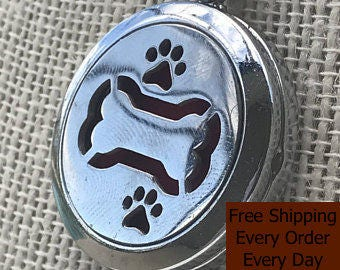 Dog Bone with Paws Aromatherapy Pendant
