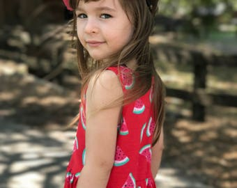Dress Red melons watermelons, red kids dress, red dresses, kids, girl dress, dress girl litle, litle girl dresses, watermelon red dress kids