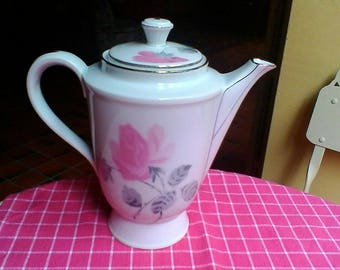 Pretty pink and white tea or coffee Pot - French vintage white porcelaine