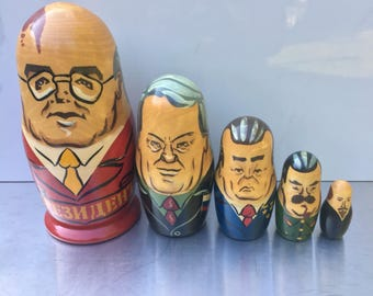 Vintage Russian Nesting Dolls, Gorbachev Russian Nesting Dolls