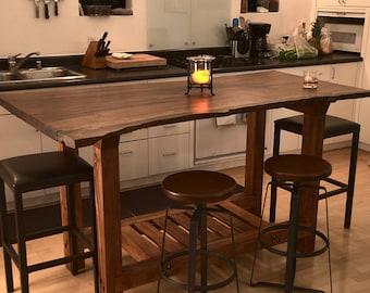 Wood Slab Pub Table