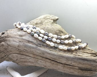 Very long grey and white Fresh-Water Pearl Necklace
