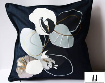 Bespoke Navy Orchid Design Cushion // Pillow Included.