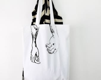 Printed tote bag, hands print, hand printed tote, black and white tote, summer tote, scary print, relaxed tote, cotton tote, handmade