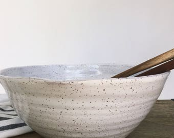 Organic Shaped White Speckled Serving Bowl