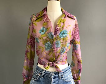 Vintage 1970's sheer floral button down