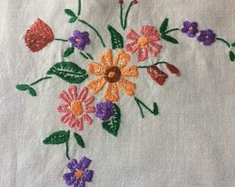 Small handmade vintage tablecloth
