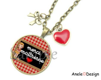 Necklace gift for the teacher - thank you teacher red black heart girl gingham vintage cabochon