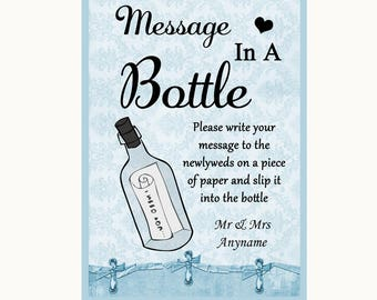 Blue Shabby Chic Message In A Bottle Personalised Wedding Sign