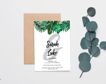Green Palm Leaves Wedding invitation | RSVP | Save the Date