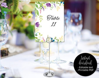 Table Numbers Template, Wedding Table Numbers, Wedding Table Names, Seating Printable Download, Watercolor Floral Flowers Theme, BORDER-9
