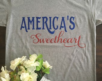 Americas sweetheart super comfy womens 4th of july tee.