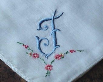 Vintage Monogram Handkerchief Wedding Hankie Fine Cotton Hanky Bridal Vintage Handkerchief Letter F Hankerchief Blue Embroidered Hankie