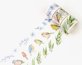 Set of 3 Rolls Birds and Flowers Washi Tape - 25mm/30mm x 8m - Gift Wrapping - Decorative Tape - Scrapbooking Sticker