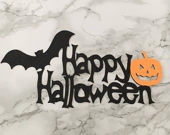 Bat & Pumpkin Halloween Cake Topper
