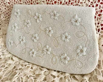 Vintage Handmade White Beaded Clutch // Beaded Evening Clutch Purse // Bridal Bag