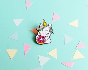 Unicorn soft enamel pin, lapel pins, donut lapel pin, kawaii pins, cute badges