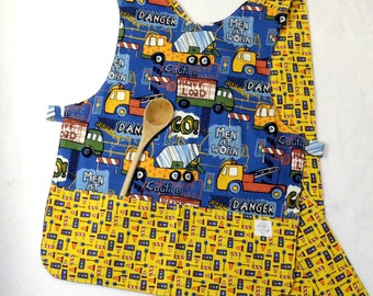 Under Construction, Big Trucks - Kid's Apron - Child's Apron - Preschool, Toddler - Baking, Smock, Crafts, Painting