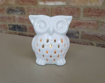 Ceramic Oil Burner White Owl - oil burner, oil diffuser, aromatherapy oil burner, ceramic oil burner, Mother's Day gift, Gifts for her