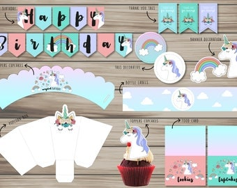Unicorn Party Printable - Party Package - Unicorn Party Supplies - Kit printable Unicorn