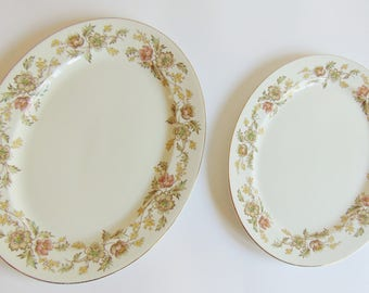 2 Johnson Brothers Serving Platters 22k gold trim Floral Ironstone