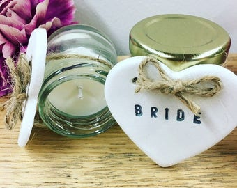 Mini Natural Soya Candle plus Personalised Heart Gift/Favour