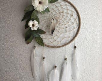 Floral dreamcatcher, floral wallhanging, boho dreamcatcher, boho wallhanging, nursery wallhanging