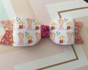 Princess Aurora Glitter Bow