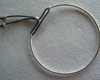 Bangle Bracelet in 925 sterling silver and chocolate link