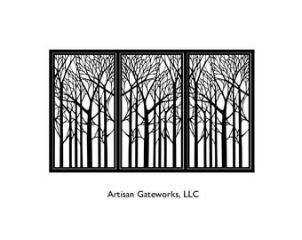 Decorative Steel Driveway Gate - Psychedelic Forest - Metal Wall Art - Handmade - Custom Room Divider - Fence Panel