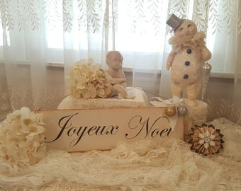 Vintage Joyeux Noel Painted Wood Sign Antique Christmas Sign Hanging Wood Sign French Christmas