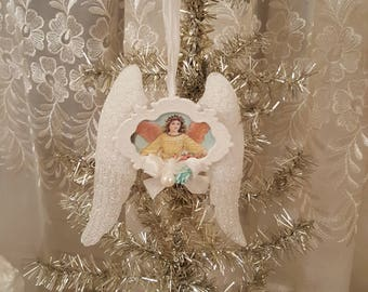 Vintage Shabby Chic Angel Wings Ornament Glitter Angel Wings Christmas Angel Ornament Vintage Image Angel with Crown and Roses Victorian