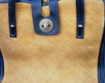 Raffia and Leather Handbag MADE IN ITALY