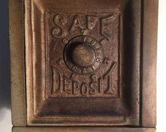Antique Cast Iron Safe Deposit Toy Bank