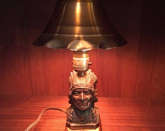 Homemade Native American Indian Chief Lamp with Copper Shade