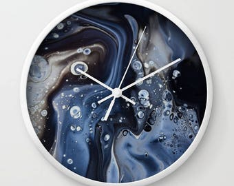 Wall Clock, Original Art Print Clock, Interior - Black Bubbles. Custom Order, Pre Order