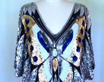 Sequined Vintage Butterfly Blouse