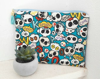 Kit makeup faux leather and fabric skulls skulls: a small pocket original, rock and feminine at the same time!