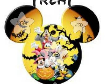 Mickey Trick Or Treat  Personalized Head Iron On Transfer