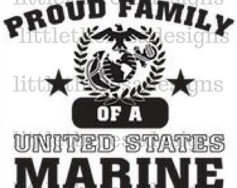 Proud Family of A United States Marine Transfer,Digital Transfer,Digital Iron On,DIY