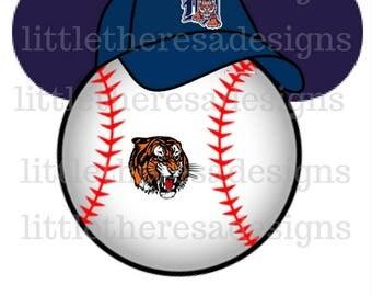 Detroit Tigers Mickey Baseball Head Transfer,Digital Transfers,Digital Iron Ons,Diy