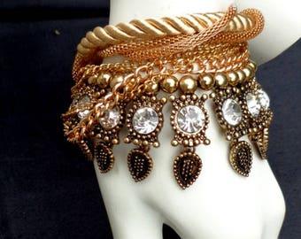 Fabric bracelet/ Textile jewelry/ Tribal bracelet /Hippie bracelet/ Textile bead/ Handcrafted /Fabric gold bead