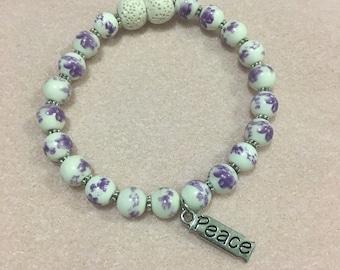Floral Peace Diffuser Bracelet